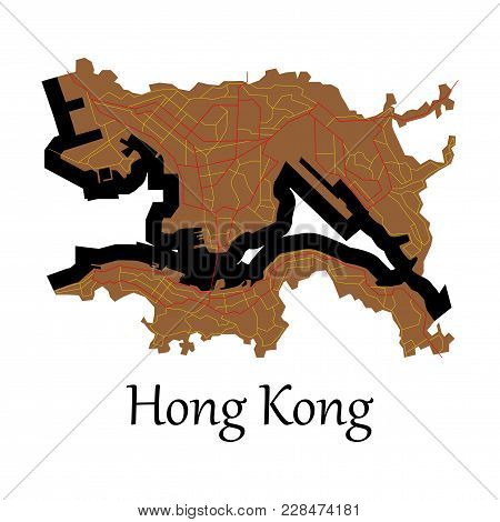 Flat Icon In Form Of Hongkong Map