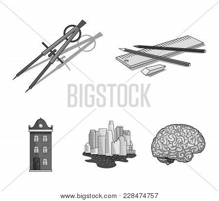 Drawing Accessories, Metropolis, House Model. Architecture Set Collection Icons In Monochrome Style