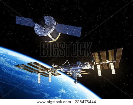 Cargo Spaceship Is Preparing To Dock With International Space Station. 3d Illustration.