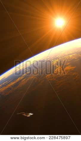 Amazing Sunrise Over The Earth And Space Station. 3d Illustration.