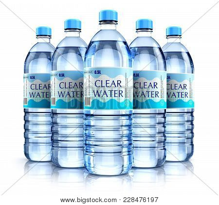 Creative Abstract 3d Render Illustration Of The Group Of Five Plastic Bottles With Clear Purified Dr