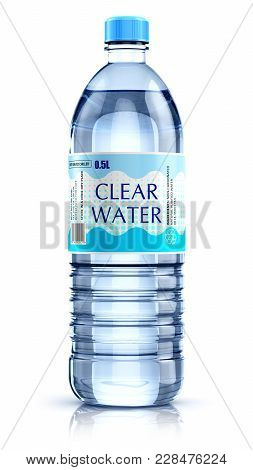 Creative Abstract 3d Render Illustration Of Plastic Bottle With Clear Purified Drink Carbonated Wate