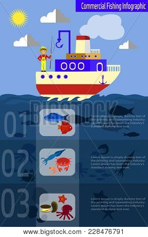 Cool Vector Flat Design Fishing Boat With Crew. Fishermen And Commercial Fishing Vessel Creative Ill