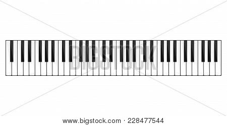Piano Keyboard Image. Bank Of Keys On A Musical Instrument, Piano, Organ Or Synthesizer With Seven W