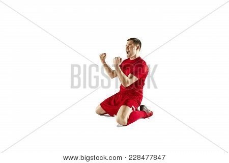 Happiness Football Player After Goal. The Professional Football, Soccer Player And Human Emotions Co