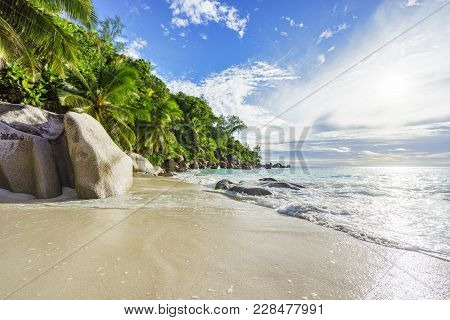 Paradise Tropical Beach With Rocks,palm Trees And Turquoise Water In Sunshine, Seychelles 16