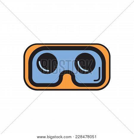 Virtual Reality Glasses Cartoon Icon. Virtual Reality Glasses Vector Illustration On White Backgroun