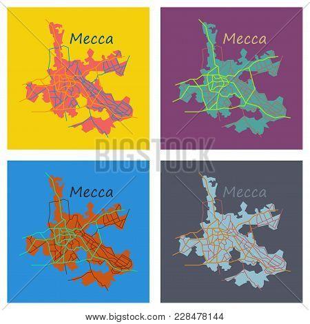 Set Mecca Map Saudi Vector & Photo (Free Trial) | Bigstock