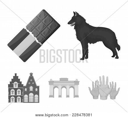 Chocolate, Cathedral And Other Symbols Of The Country.belgium Set Collection Icons In Monochrome Sty