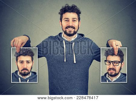 Young Cheerful Hipster Holding Photos With Different Emotions Having Problems With Mood Change.