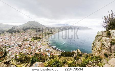 Aerial View At Town Copacabana On Titicaca Lake In Bolivia