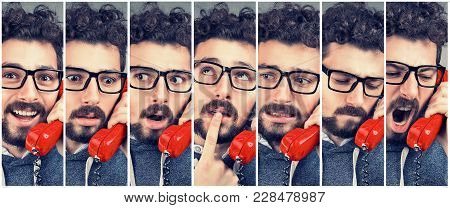 Handsome Man Changing Emotions From Happy To Angry While Answering The Phone