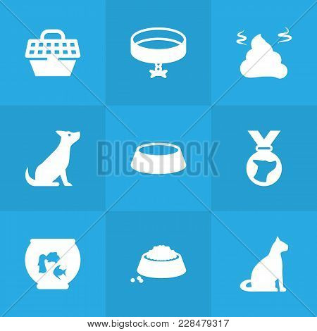 Set Of 9 Animals Icons Set. Collection Of Medallion, Fishbowl, Pet Crate And Other Elements.