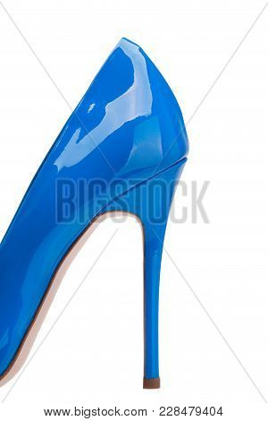 High Heel Lacquered Blue Shoes Close-up. High Heel Blue Lacquered Shoes.