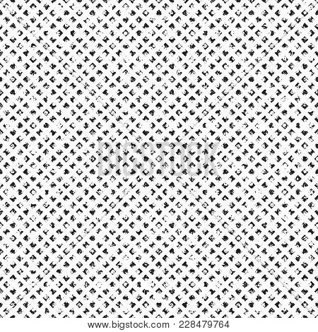 Grungy Seamless Texture Of Distorted Tiny Rhombs Arranged In Rich Noisy Grid Seamless Pattern. Half
