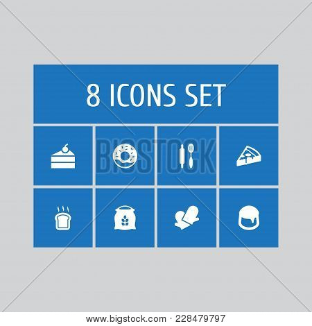 Set Of 8 Bakery Icons Set. Collection Of Doughnut, Custard, Sweetmeat And Other Elements.