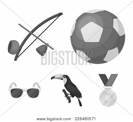 Brazil, Country, Ball, Football . Brazil Country Set Collection Icons In Monochrome Style Vector Sym