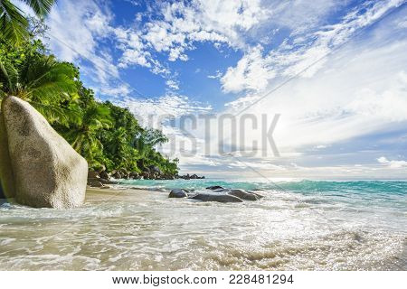Paradise Tropical Beach With Rocks,palm Trees And Turquoise Water In Sunshine, Seychelles 39