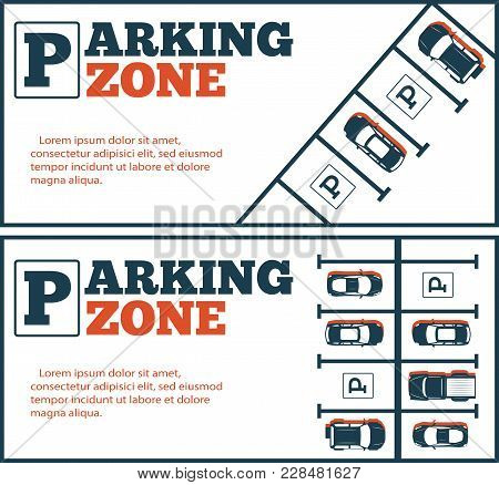 Parking Zone Flyers In Minimalist Style. Top View Parked Cars In Parking Lot, Outdoor Auto Park, Fre