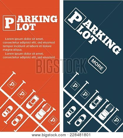 Parking Lot Flyers In Minimalist Style. Top View Parked Cars In Parking Zone, Outdoor Auto Park, Fre