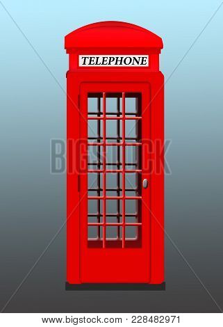 Isolated Red Phone Booth On A Background. Red Telephone Booth