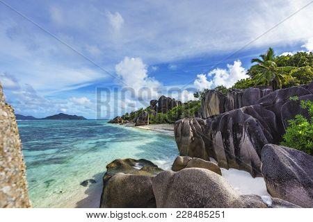 Rocks,white Sand,palms,turquoise Water At Tropical Beach,la Dique,seychelles Paradise 20