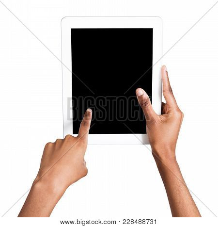 Holding And Pointing To Blank Screen On Digital Tablet. African-american Female Hands Using Device W