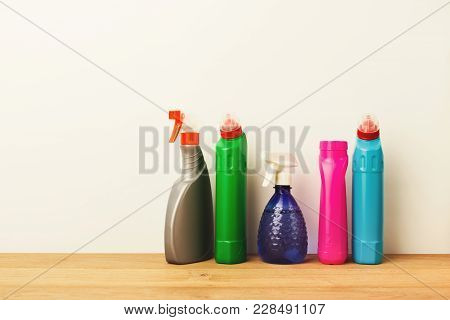 Group Of Colorful Bottles, Cleaning Products On White Background. House Keeping, Tidying Up, Spring-