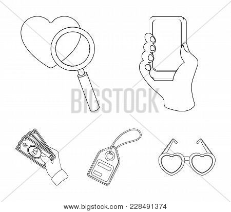 Hand, Mobile Phone, Online Store And Other Equipment. E Commerce Set Collection Icons In Outline Sty