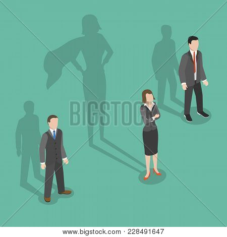 Woman Leader Flat Isometric Vector Concept. Two Men And A Woman Are Standing With Their Shadows Behi