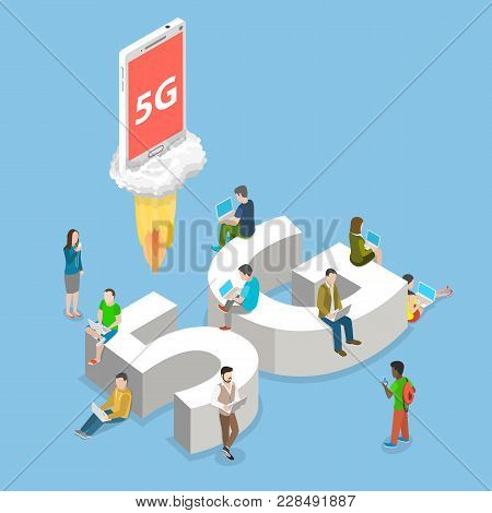 5g Flat Isometric Vector Concept. People With Mobile Devices Are Sitting And Standing On And Around