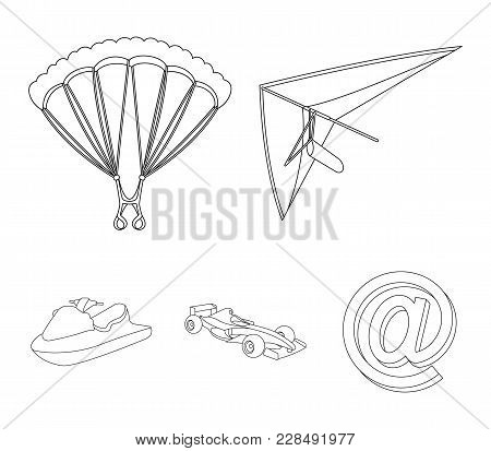 Hang Glider, Parachute, Racing Car, Water Scooter.extreme Sport Set Collection Icons In Outline Styl