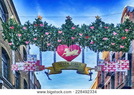London, England - December 18 , 2017 Christmas Decoration At Seven Dials. Seven Dials Is A Small Roa