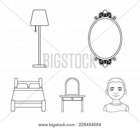 Mirror, Drawer, Table Lamp, Bed.furniture Set Collection Icons In Outline Style Vector Symbol Stock