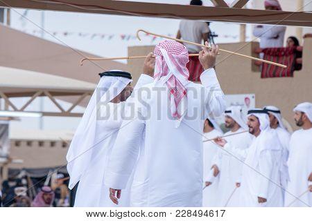Men perform a Yawalah traditional dance in Janadriyah Festival Essay February 23, 2018 in Riyadh, Sa