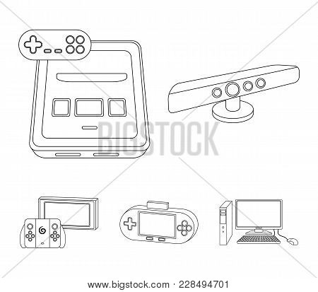 Game And Tv Set-top Box Outline Icons In Set Collection For Design.game Gadgets Vector Symbol Stock