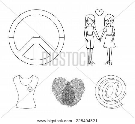 Lesbians, Fingerprints, Sign, Dress.gayset Collection Icons In Outline Style Vector Symbol Stock Ill