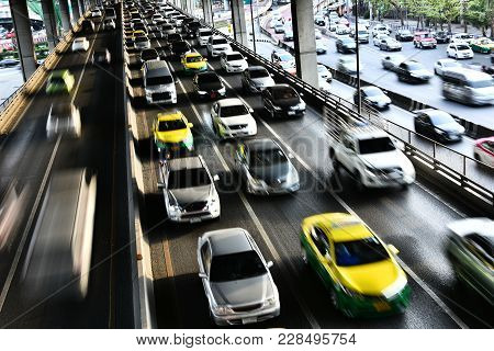Controlled-access Highway In Bangkok During Rush Hour