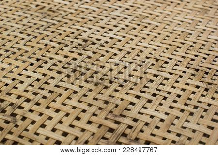 Handmade Bamboo Weave Pattern Texture. Abstract Background From Low Angle View.