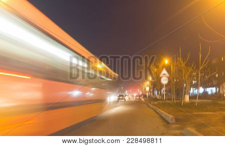 The Trace Of A Moving Bus At Night .