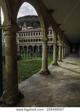 Nogueira De Ramuin, Spain - December 30, 2017: Cloister Of The Monastery Of The Parador De Santo Est