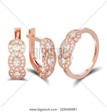 3d Illustration Isolated Set Of Rose Gold Decorative Diamond Earrings With Hinged Lock And Three Sto