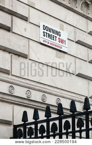 London, United Kingdom - January 31, 2018: Sign On Downing Street In The City Of Westminster In Lond