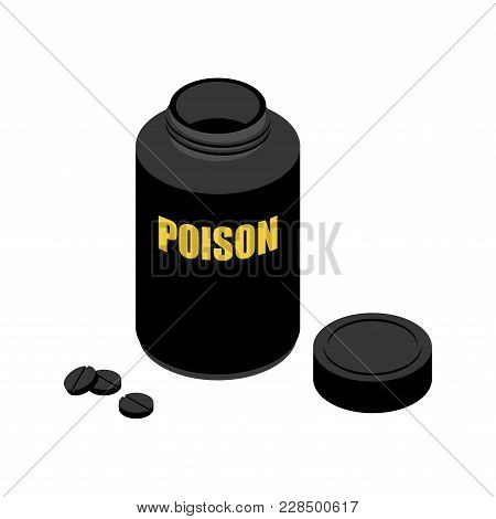 Jar With Poison. Black Container For Poisoning. Medical Pharmaceutical Illustration