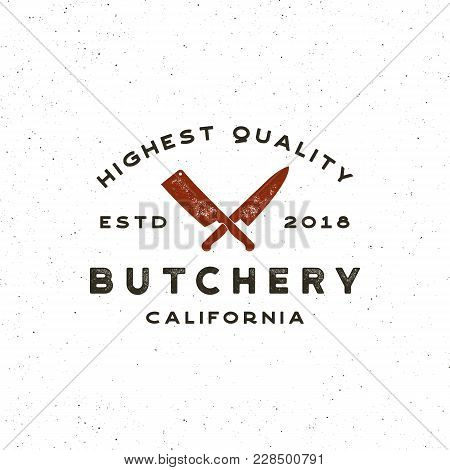 Vintage Butchery Logo. Retro Styled Meat Shop Emblem, Badge, Design Element, Logotype Template. Vect