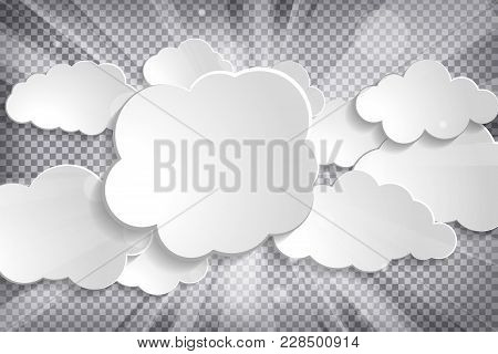 Vector Illustration Of Clouds Set With Sun Rays On A Chequered Background