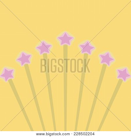 Yellow Bright Colored Rays With Pink Stars In A Stroke On A Yellow Background