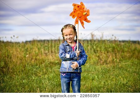 Girl on grass in summer  day