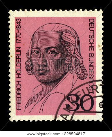 Germany - Circa 1970: A Stamp Printed In The Germany Shows Portrait Friedrich Holderlin (1770-1843),