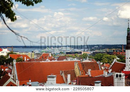 Tallinn, Estonia - July 7, 2016: Aerial View On The Old Town With Main Central Steet In Tallinn, Est